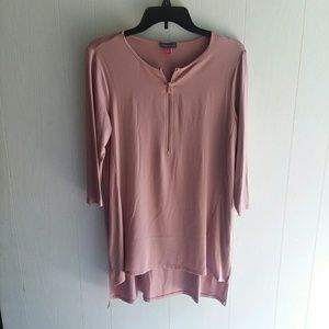 Vince Camuto Dusty Rose long sleeve high low tunic